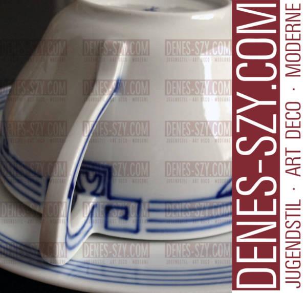 Jugendstil Teetasse oder Kaffeetasse mit Bügelmuster Dekor von Meissen