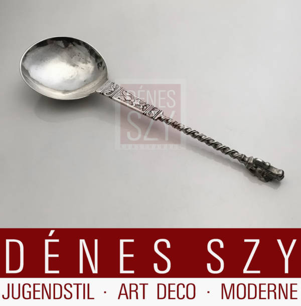 Apostle spoon, set of 4, German Baroque silver Kempen 1700.