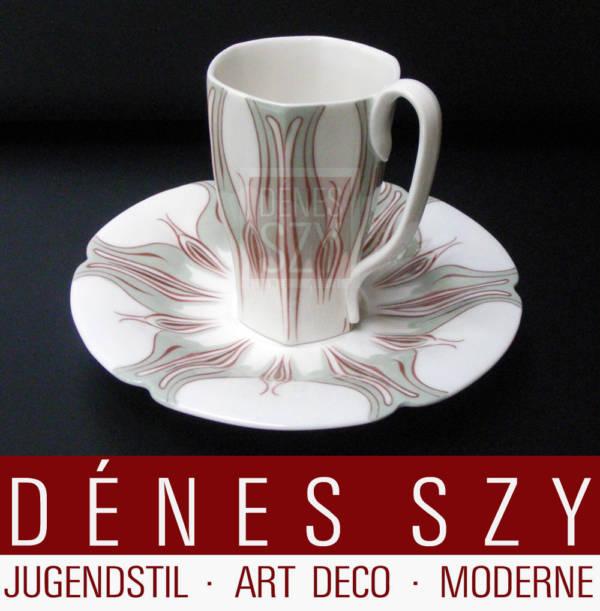 Meissen Jugendstil Kaffeetasse Krokusmuster Variante ZWEI