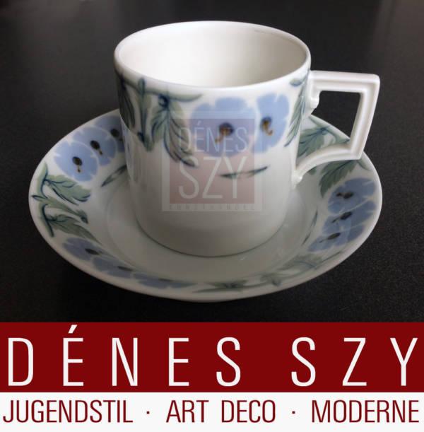 Meissener Jugendstil Porzellan Primelmuster Kaffeetasse 1906