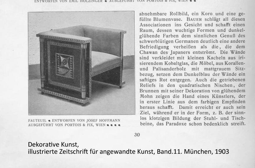 Josef Hoffmann Stuhl in Dekorative Kunst Band 11 1903