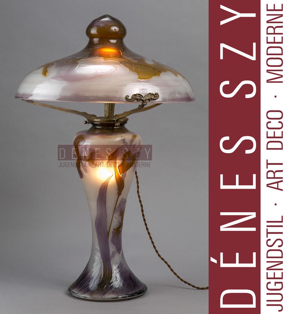 Emile Gallé lampada in vetro a cammeo stile liberty con decoro ...