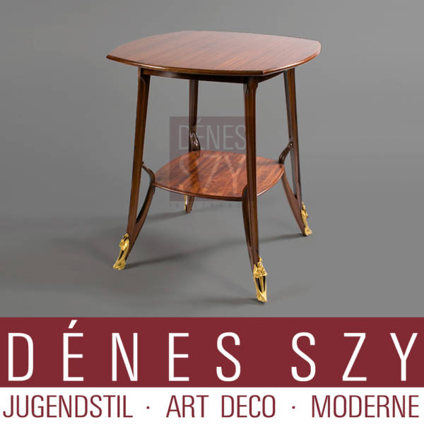 Louis Majorelle, Art Noveau two-tier mahogany side Table with ormolu Sabots
