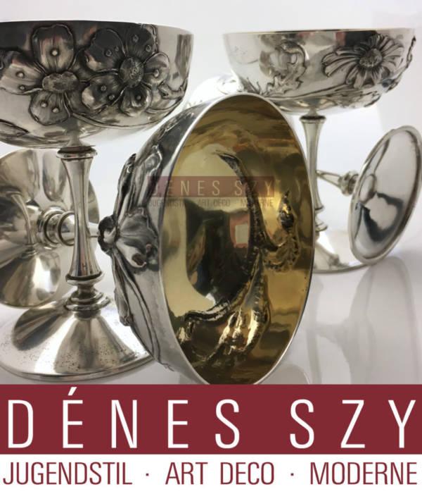 Wolfers FRÈRES Brüssel Sterling Art Nouveau Champagne Cups