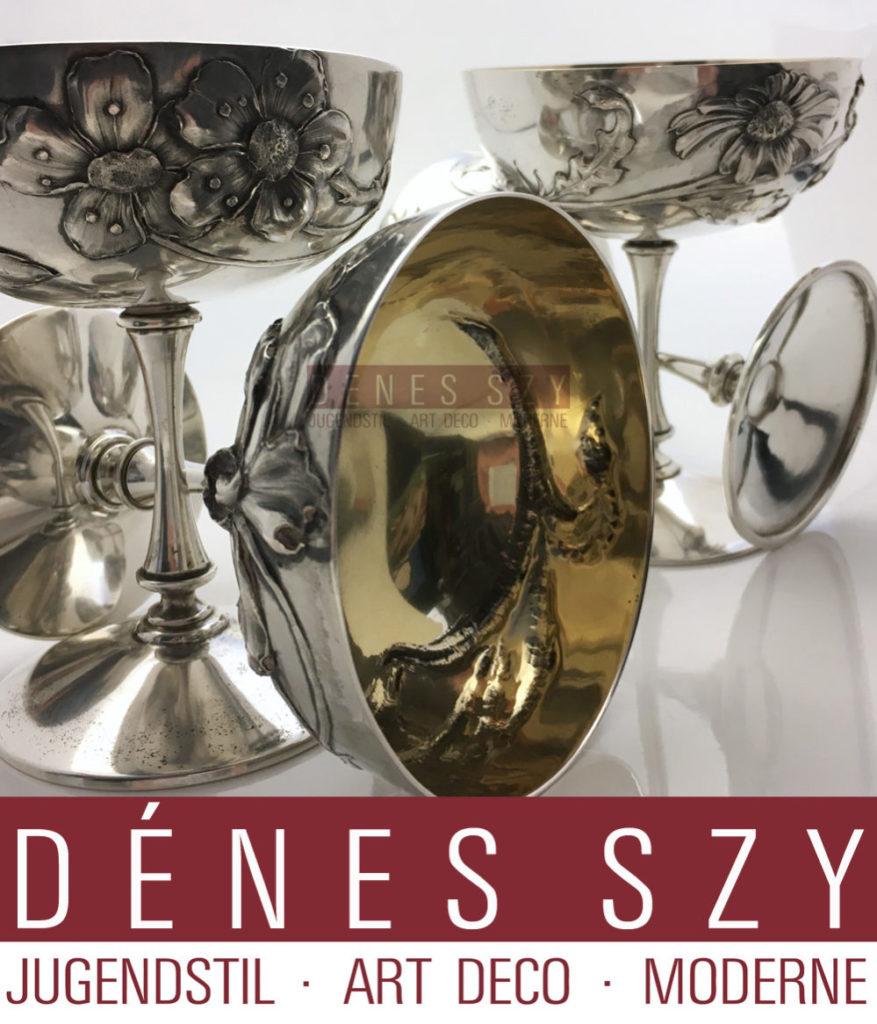 Jugendstil Silber Sektkelche entworfen und ausgefuehrt von Wolfers Freres Bruessel