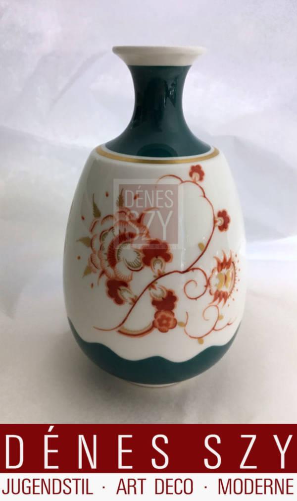 Seltene Art Deco Porzellan Vase mit floralem Dekor von Adolf Flad
