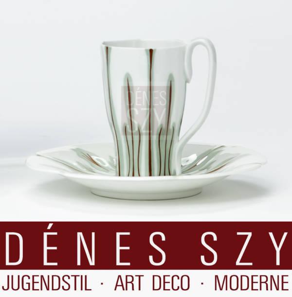 Meissen Jugendstil Porzellan Krokusmuster Kaffeetasse Hentschel