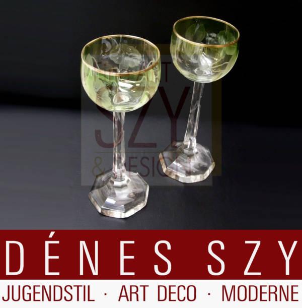 Art Nouveau 1900 wheel carved crystal vine glasses by Moser Karlsbad