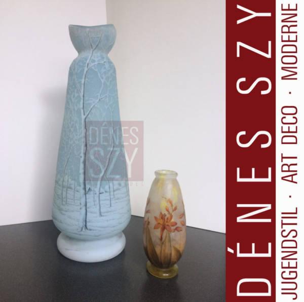 Jugendstil Vase mit Winterlandschaft von DAUM Nancy ca. 1900