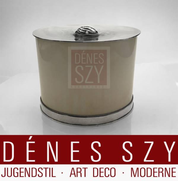 Herbert Zeitner Sterlingsilber und Elfenbein Art Deco Dose