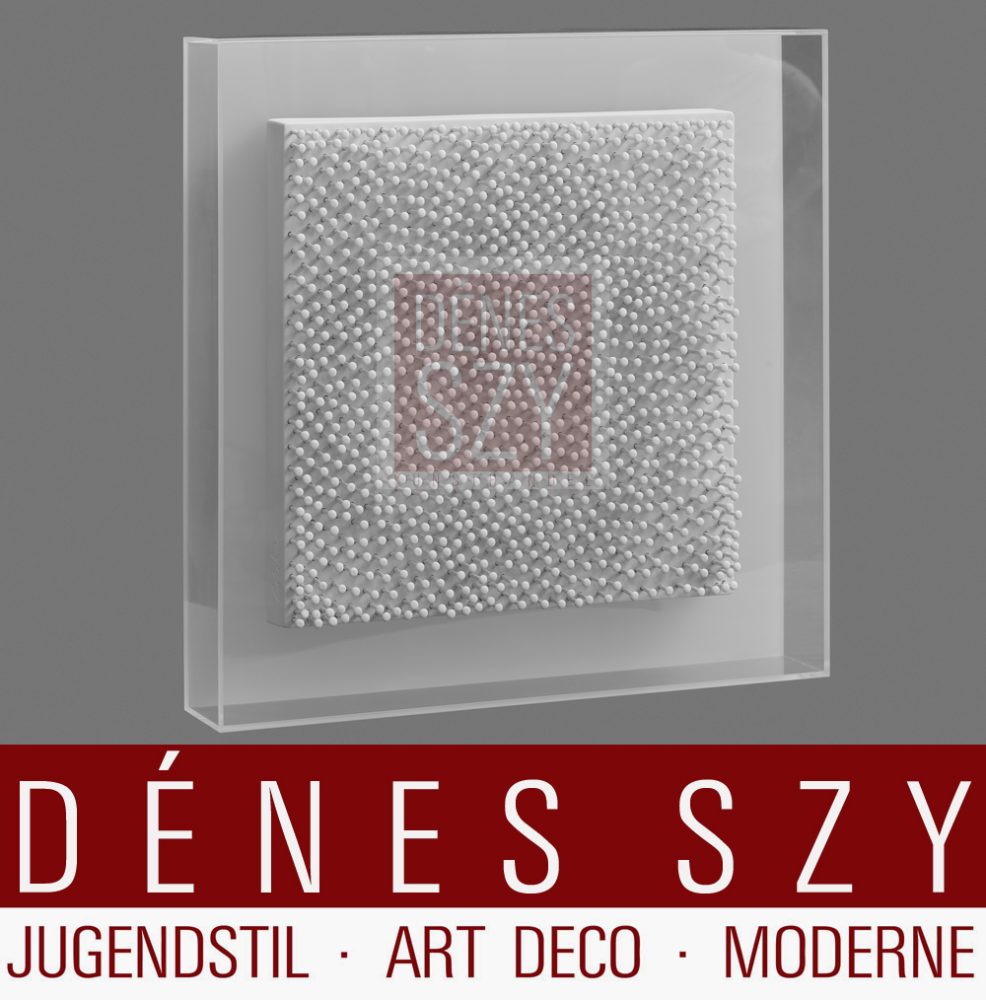 Guenther Uecker Interferenzen Rosenthal Limitierte Reihe von 49 Exemplaren, Keramik, Nagelbild quadratisch in Plexiglas gerahmt