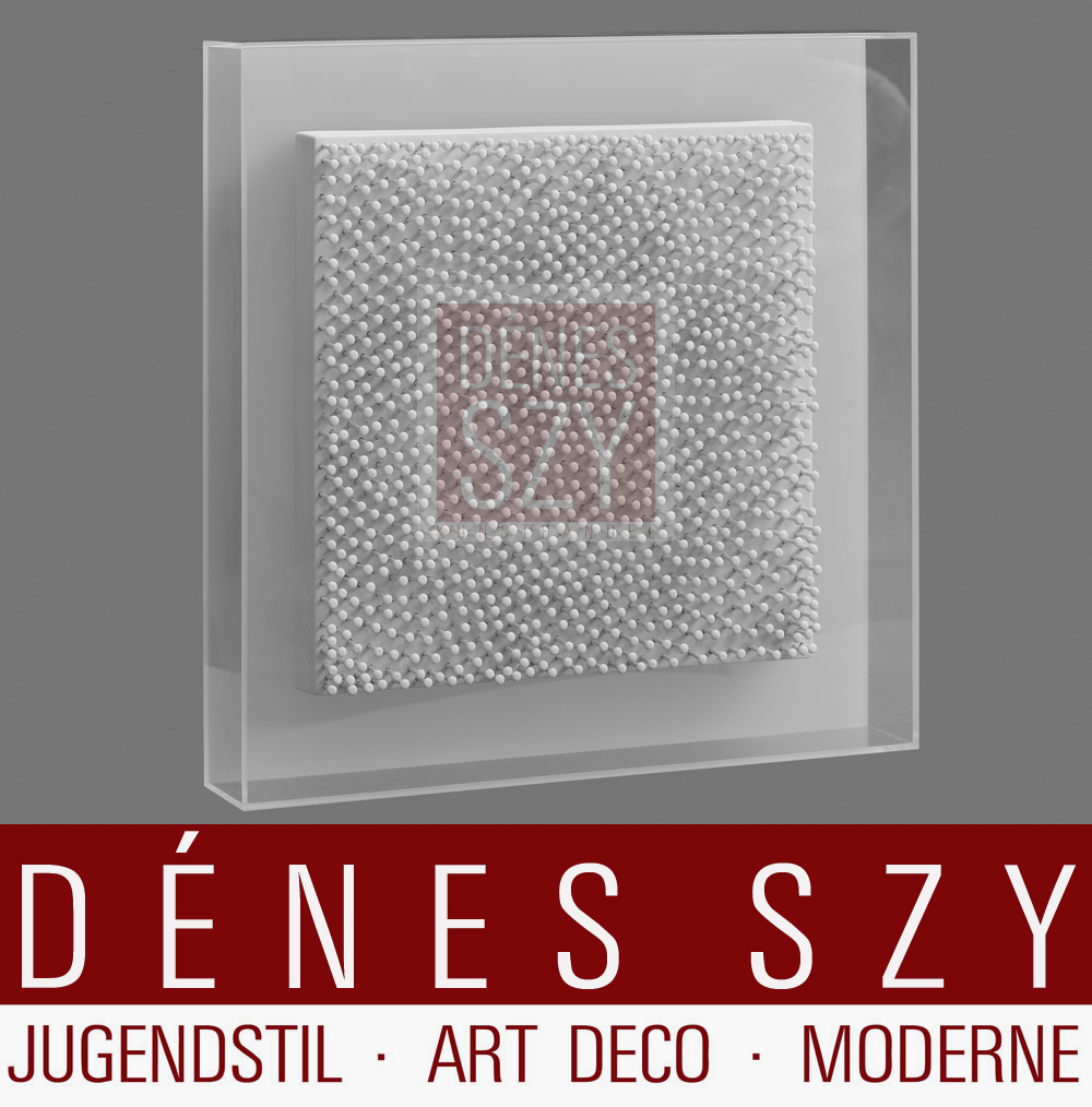 Guenther Uecker Interference 04/49 copy, porcelain nail picture square framed in Plexiglas