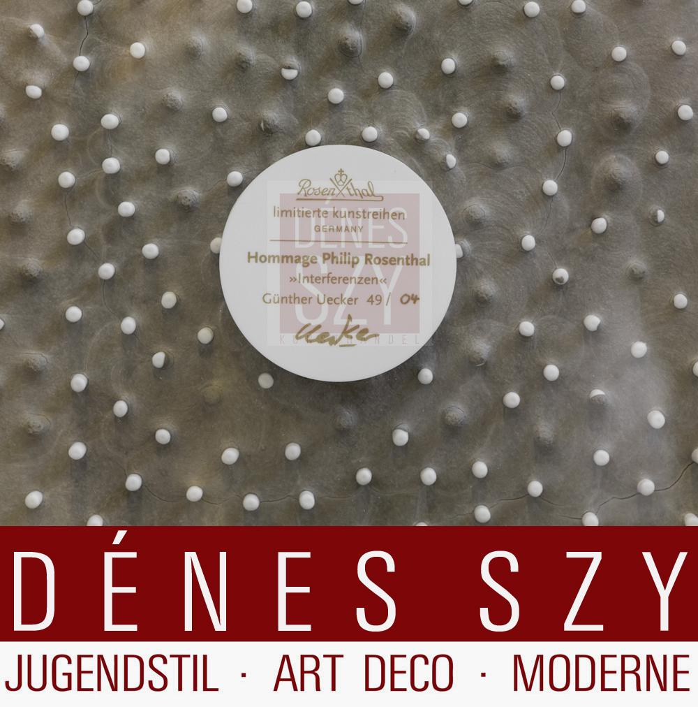 Guenther Uecker Interférence 04/49 copie, porcelaine ongle photo carré encadré en plexiglas