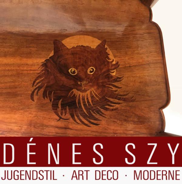 Original Emile Galle Nancy, Katzen Intarsien Möbel, signiert