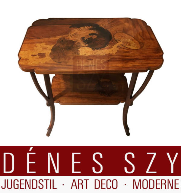 Emile Galle Art Nouveau tavolino da centro intarsiato con gatti