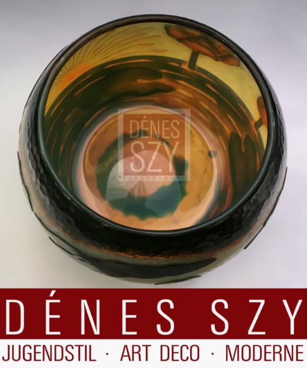 grande Daum Nancy Art Nouveau Martele Cameo verre Vase 1900