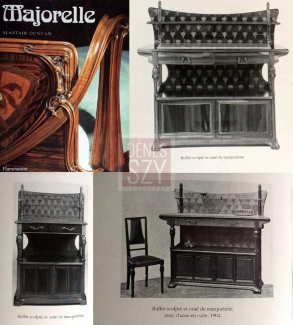 Buffet Art Nouveau, Louis Majorelle Nancy 1900, avec feuille de ginkgo marqueterie