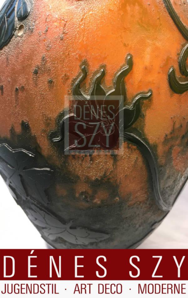 Lachenal, Daum Nancy Jugendstil Glas Vase