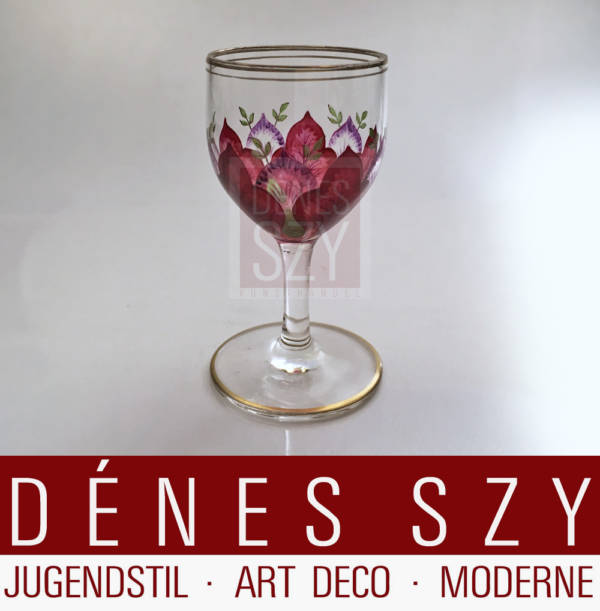 German Art Nouveau enamelled liqueur glass Fritz Heckert