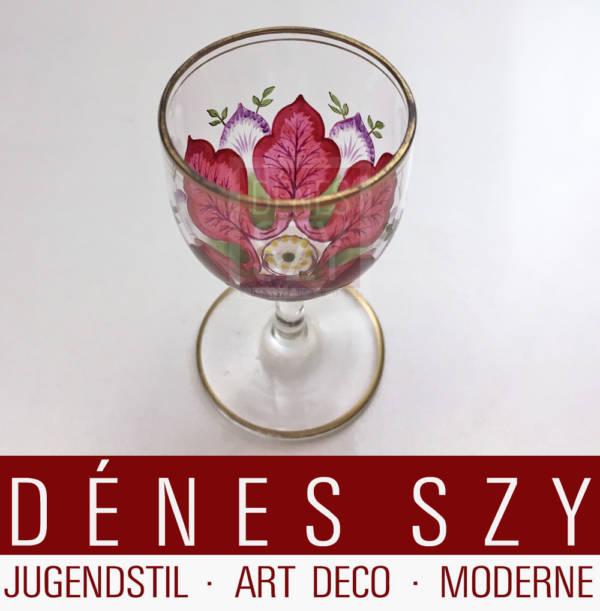 Jugendstil Likoer Glas mit Emaille Malerei Bayerischer oder Boehmerwald