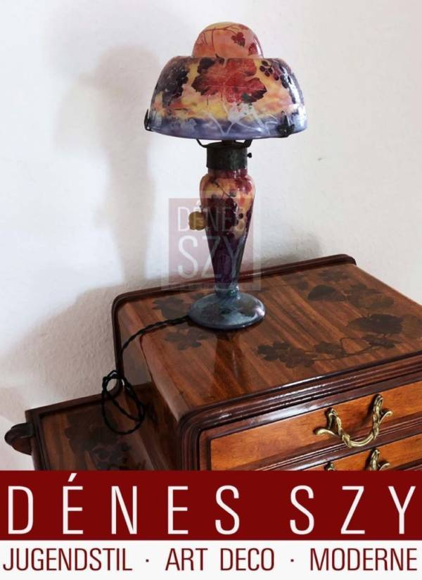 A good Daum Nancy applied cameo glass and wrought-iron snail lamp circa 1900