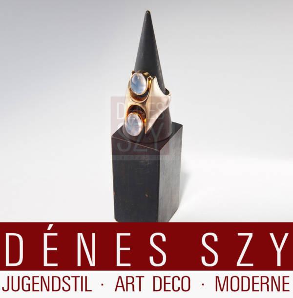 Georg Jensen Gold Ring 845 mit Mondsteincaboschons