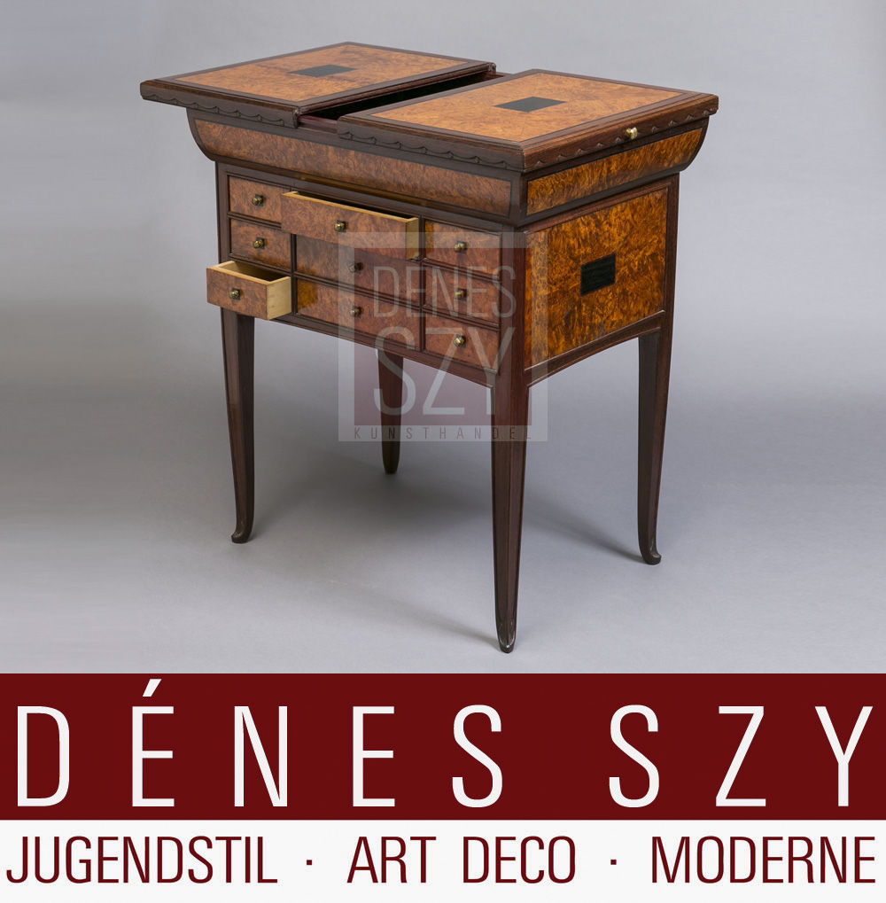 Gaillard Art Deco Tisch mit Schublaeden Frankreich Ecole de Nancy