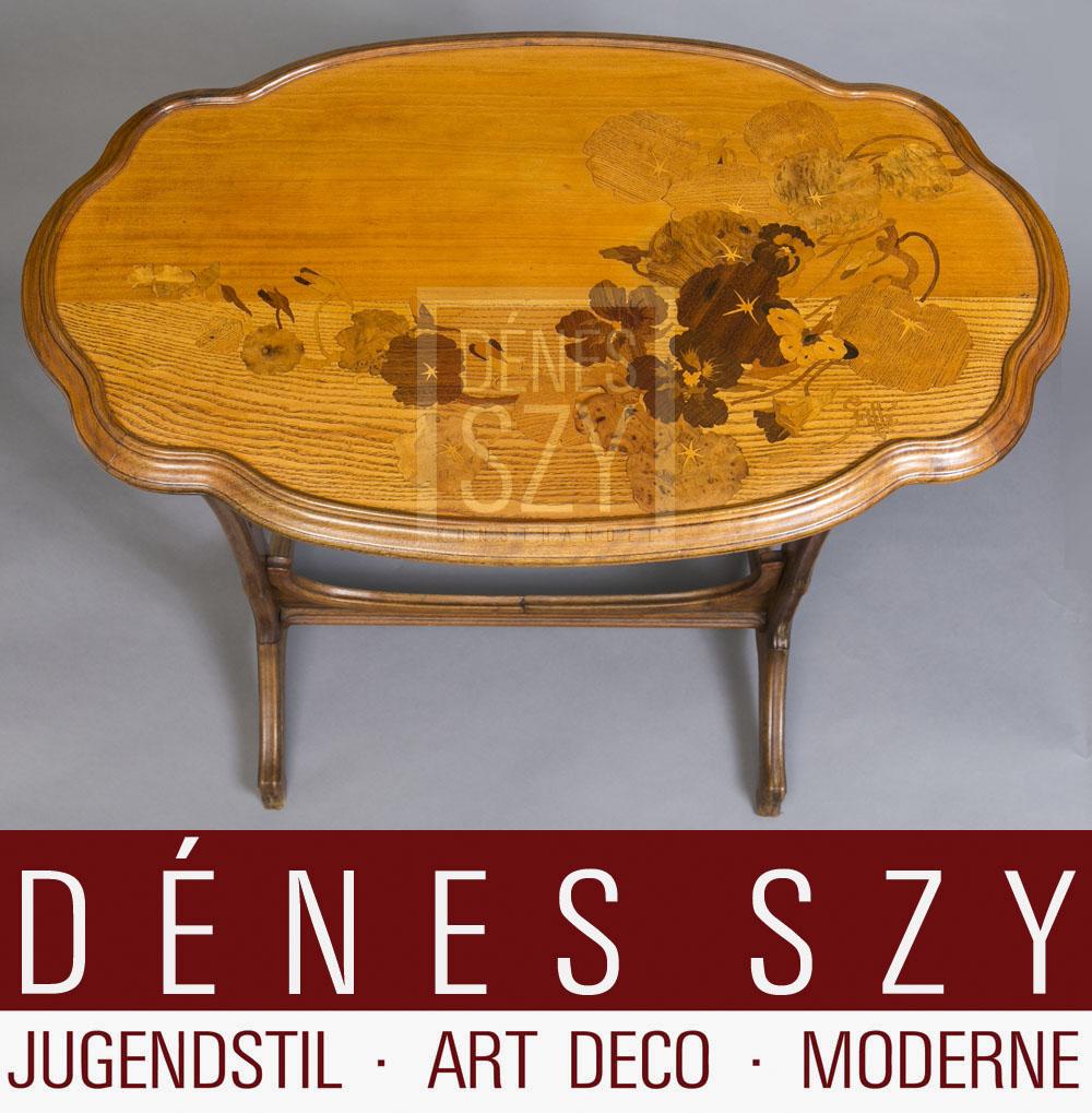 Zierlicher Intarsien Beistell Tisch aus Edelholz, signiert Emile Galle um 1900