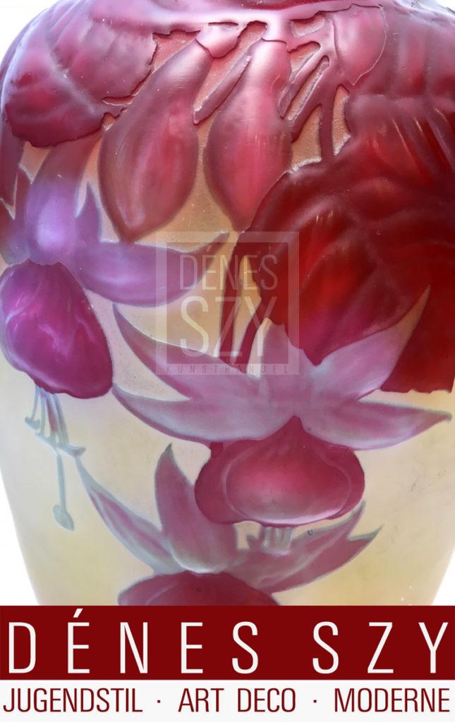 Emile Galle Nancy Art Nouveau Français Vase En Verre Soufflé Fuchsia,
