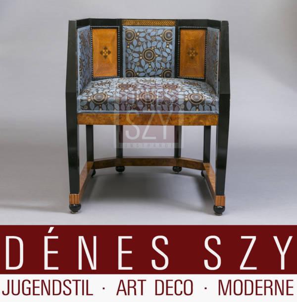 Olbrich, Art Nouveau, Music Room, Marquetry Armchair, Darmstadt