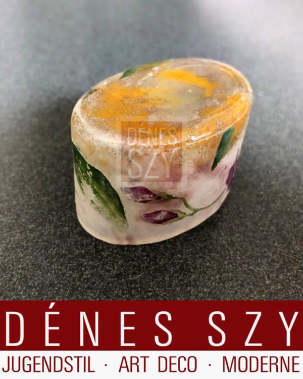 Art Nouveau Miniatur Vase oder Gewuerzschale, Glas in Gelb Gruen und Rosa Violett Toenen