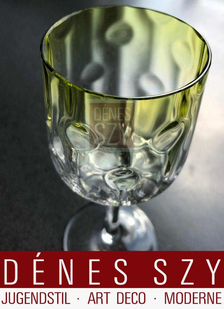 Weinglaeser von Kolomann Moser mit gruenlicher Kuppa, Wiener Secession