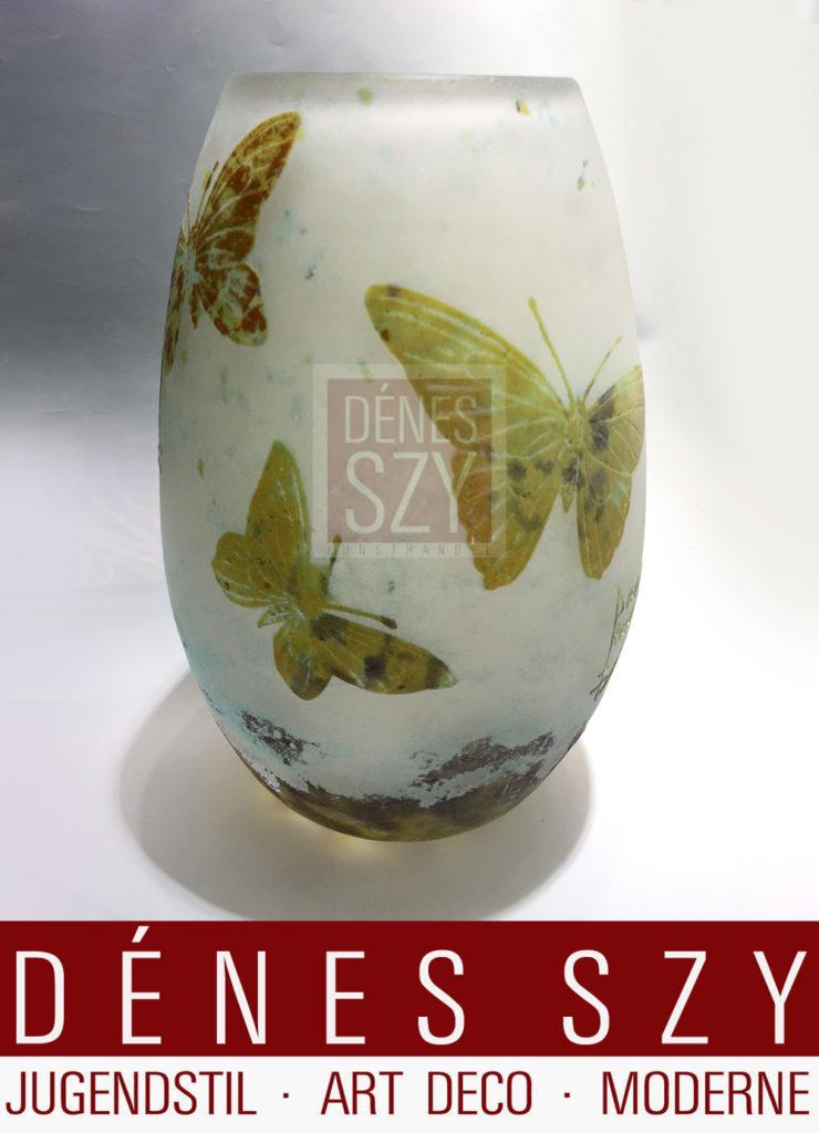 Daum Nancy Art Nouveau Glas Vase um 1900, Cameo Glas geschnitten und geatzt