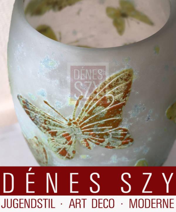 Daum Nancy Jugendstil Glas Vase mit Schmetterlingen