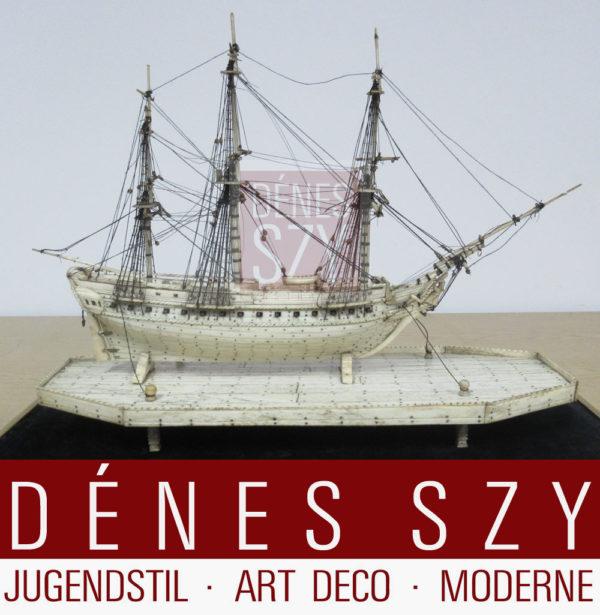 Knochenschiff, Frankreich um 1800, Modell eines Dreimasters