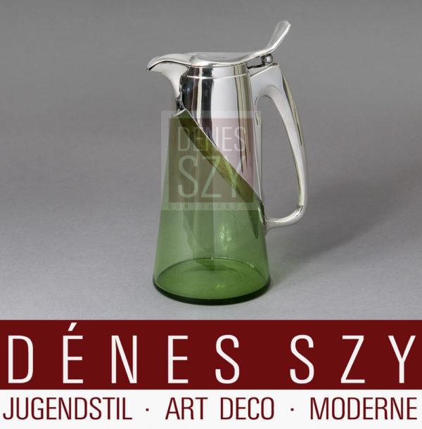 Jugendstil Glas Karaffe mit Silbermontur
