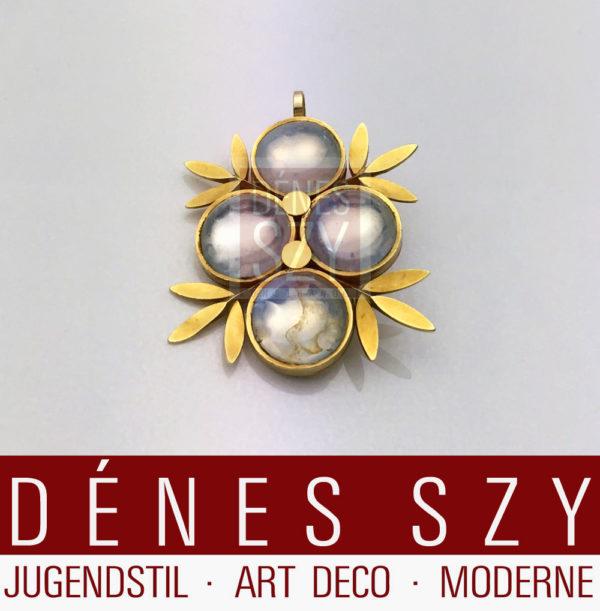 Emile Lettré Schmuck Art Deco Anhänger Gelbgold mit Mondsteinen