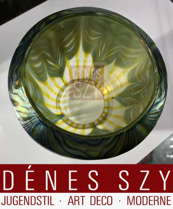 Jugendstil Glas Lampenschirm Witwe Loetz Muster Phaenomen irisierend
