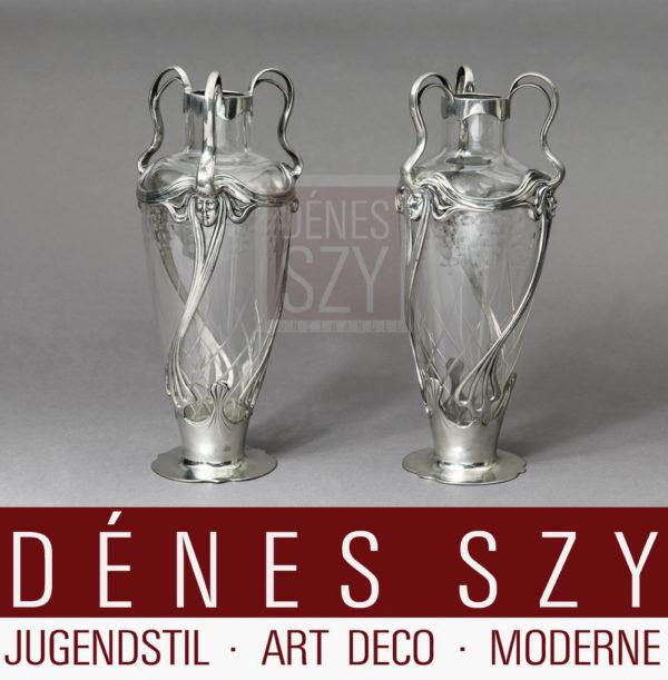 Orivit Jugendstil Zinn Köln, Frauenkopf-Vase 2586