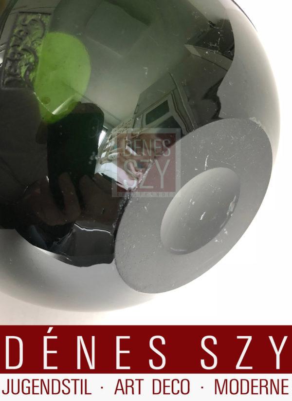 Art Deco Legras Glas Vase, runde Kristallglas Vase, Säure geätzt und geschnitten, Entwurf und Ausführung: François-Théodore LEGRAS [1839-1916] ca. 1920-30, Höhe 14,5 cm, Durchmesser 18 cm, Zustand: sehr gut