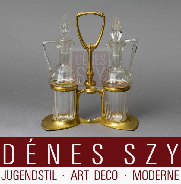 Huilier Art Nouveau en étain doré Friedrich Adler des années 1900