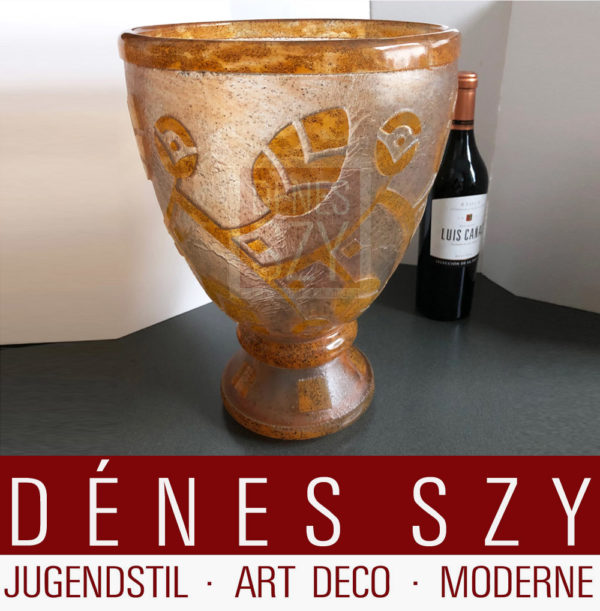 Daum Freres Art Deco Glas Vase XL