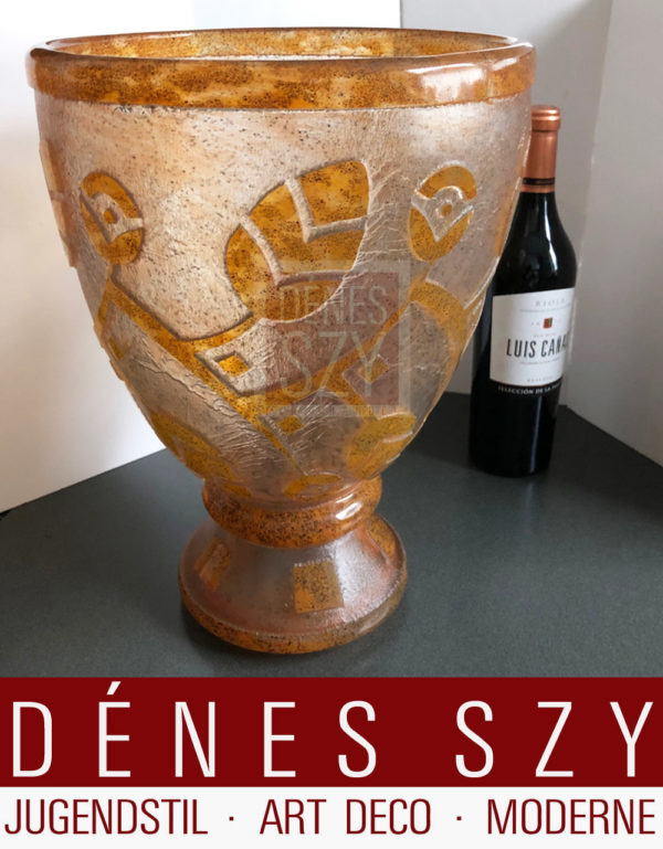 Daum Freres Art Deco vaso in vetro XL