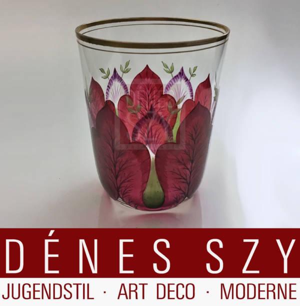 Jugendstil Wasser Glas mit Emaille Malerei Bayerischer oder Boehmerwald