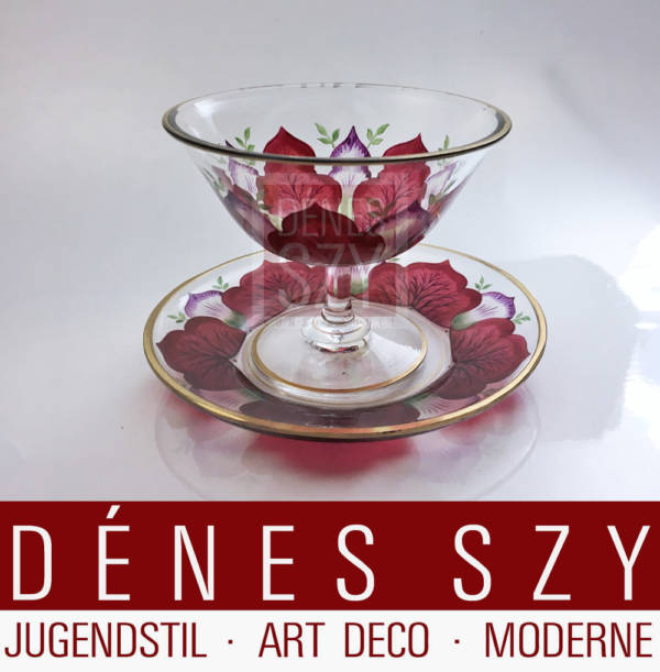 German Art Nouveau enameled sorbet Glass Fritz Heckert 1900