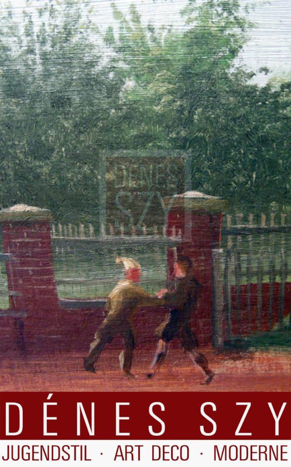 THEO CHAMPION [Dusseldorf 1887-1952 ibid], Cortile della scuola a Oberkassel (?), Olio su tela, montato su pannello rigido, 41,5 cm x 54 cm, con cornice, Campione 1940 firmato e datato in basso a sinistra