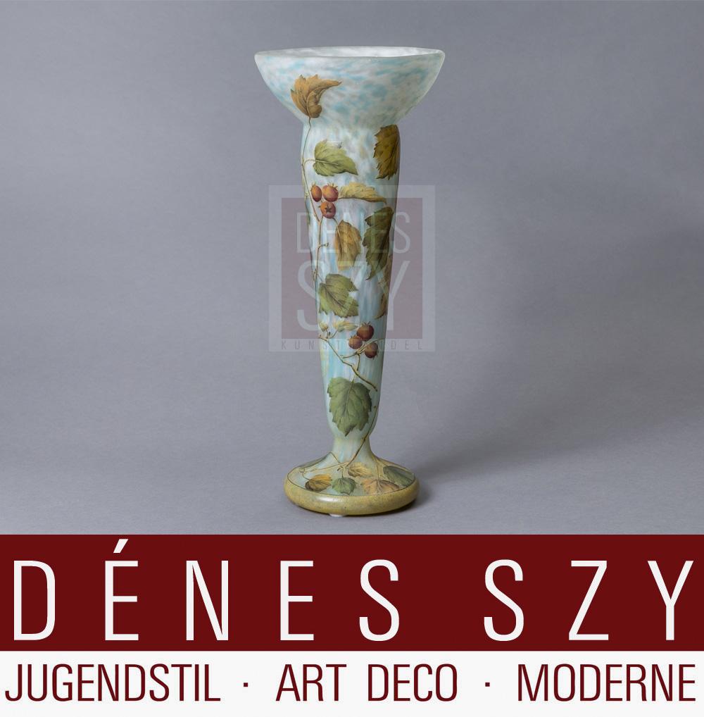 Daum Nancy, Jugendstil Vase, Dekor Hagebutte
