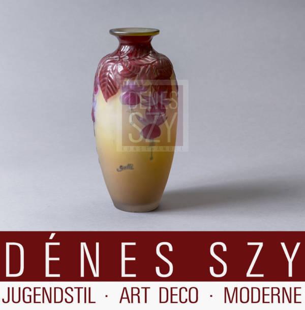 Emile Gallé Nancy Art Deco Glas Vase mit Fuchsia Dekor