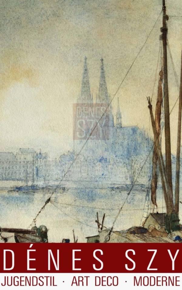 Carl Ruedell Aquarell Der Koelner Dom zur Blauen Stunde 1900