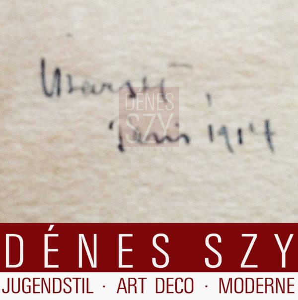 Adolf UZARSKI liegender weiblicher Akt 1914